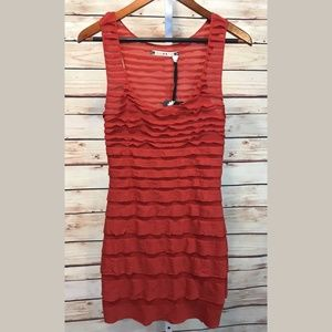 Chelsea & Violet Red Sleeveless Tiered Dress